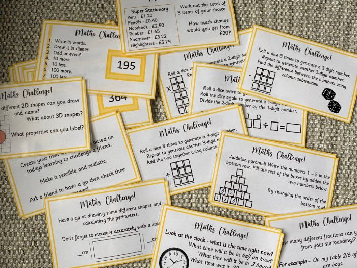 Maths finisher cards