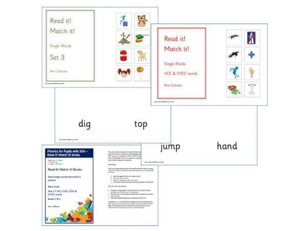 Read it! Match it! Books - Single word reading + Match a picture - Basic Code - Phonics for SEN