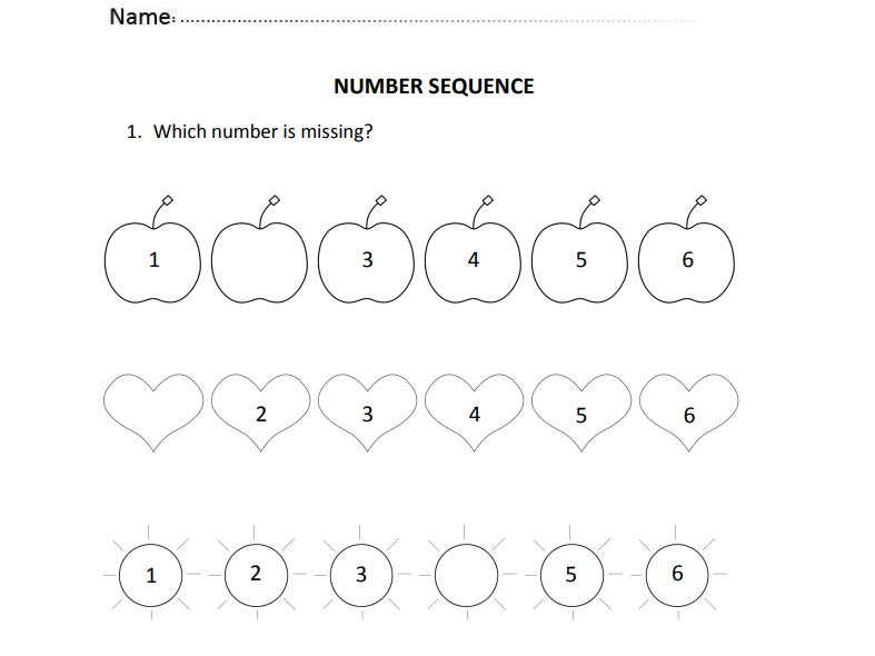 First Number Sequence for Nursery and Reception Students