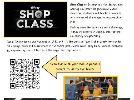 Disney+ Shop Class Home Learning projects