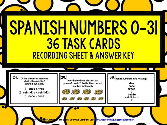 SPANISH NUMBERS 0-31 TASK CARDS WITH RECORDING SHEET & ANSWER KEY