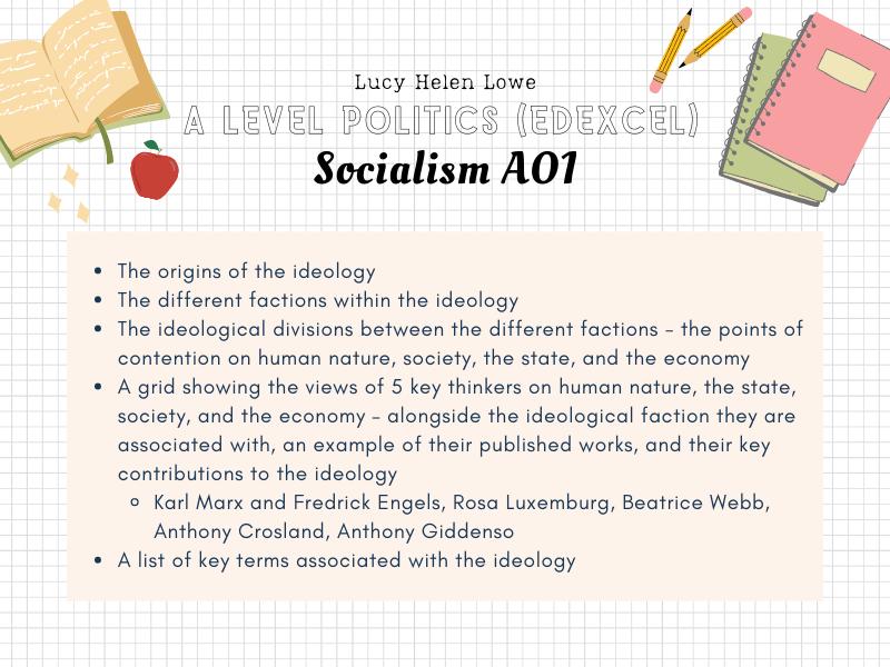Politics A Level Edexcel - Socialism Core Political Ideas / Ideologies Revision