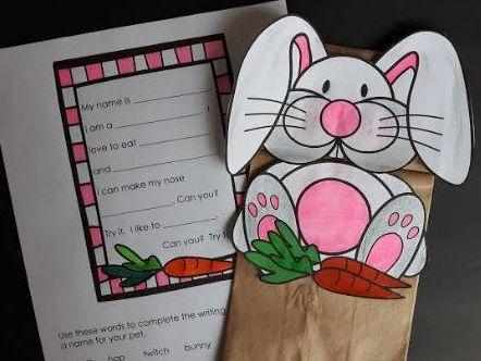What Pet Should I Get?  Paper Bag Puppet Freebie (Bunny)