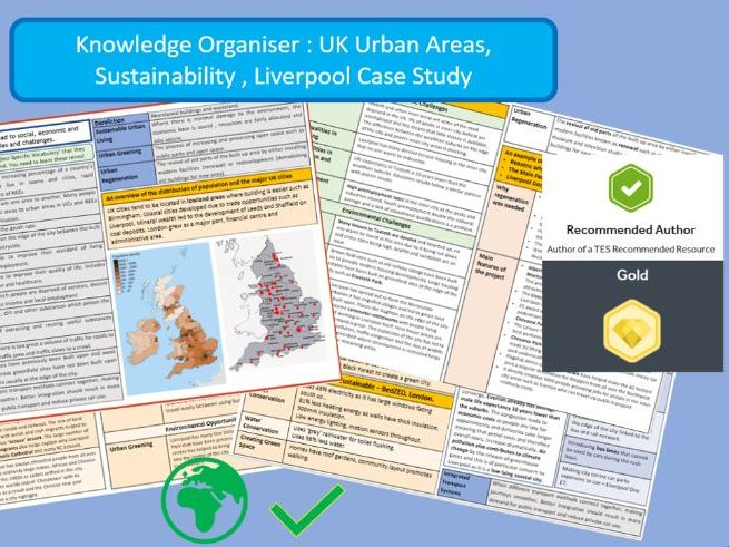 AQA 9-1 GCSE: Urban Issues, UK and Sustainability, Liverpool, Knowledge Organiser.