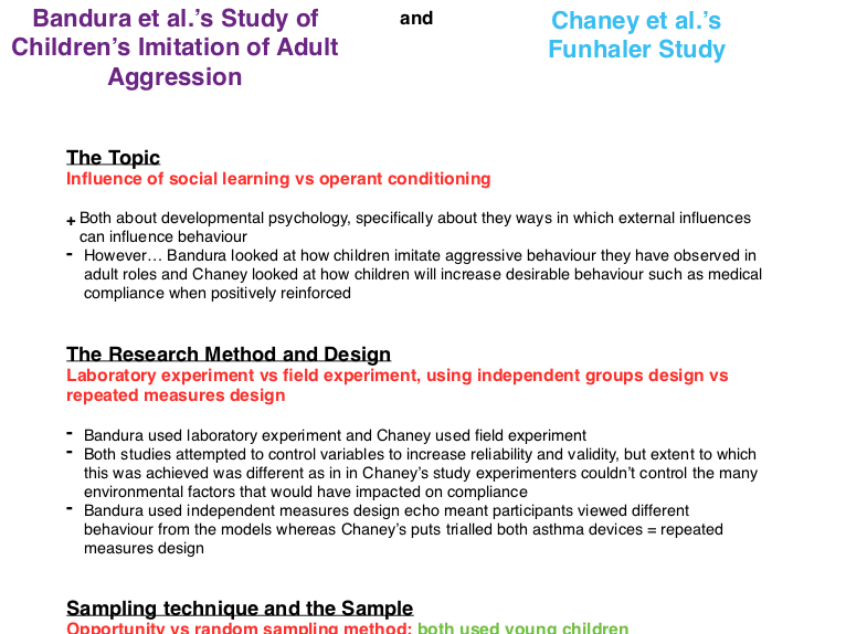 Psychology AS/A Level: Comparing two studies in Developmental Area (Bandura and Chaney)