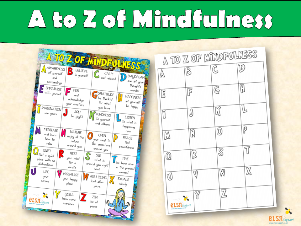 ELSA SUPPORT A to Z of Mindfulness - Mental Health, Emotions, Coping skills, PSHE