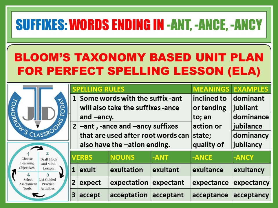 SUFFIXES: WORDS ENDING IN -ANT -ANCE -ANCY - WORKSHEETS WITH ANSWERS