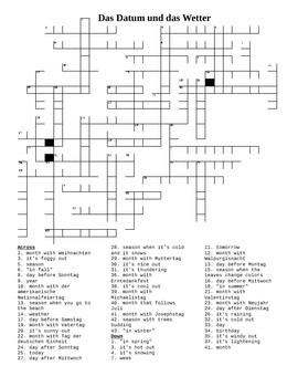 Datum und Wetter (Dates & Weather in German) crossword