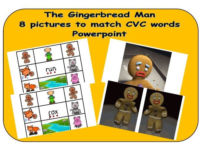 The Gingerbread Man CVC 8 word to picture match