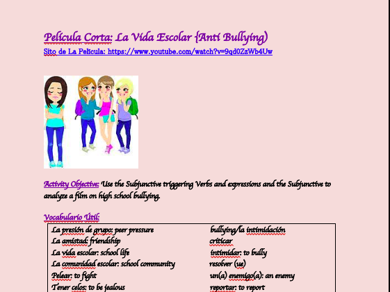 Anti-Bullying Activity (with Subjunctive)--Spanish