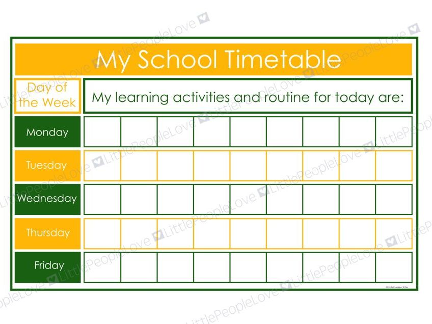 My School Timetable (Green/Yellow)