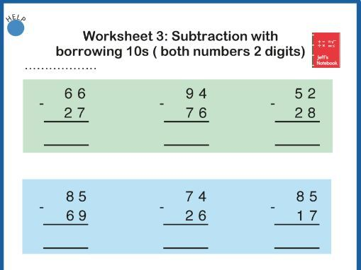 Add and Subtract 2 Digit Numbers:  Worksheets