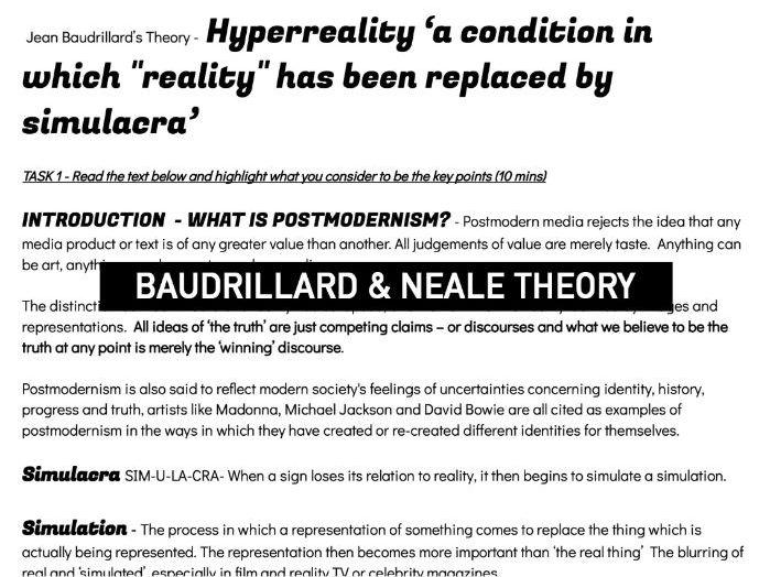 POSTMODERNISM  & GENRE THEORY | Baudrillard & Neale's