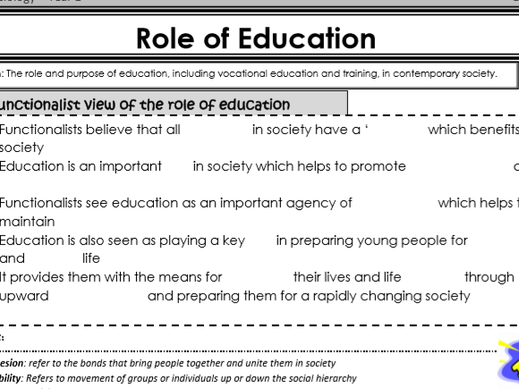 AQA Sociology - Year 1 - Education - Complete Unit