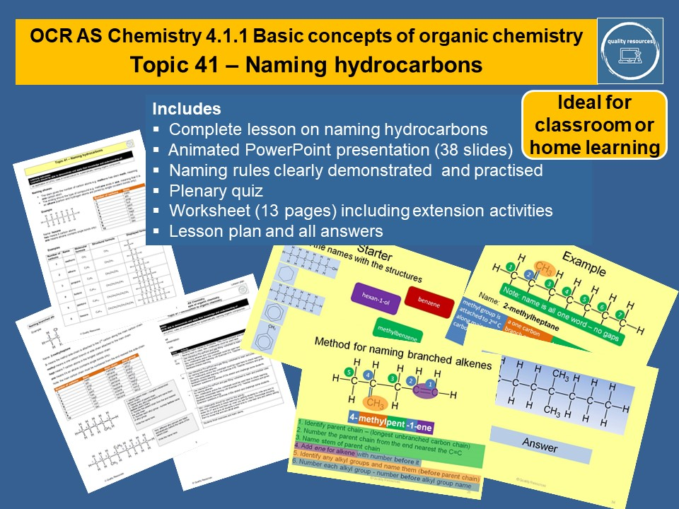 Naming hydrocarbons OCR AS Chemistry