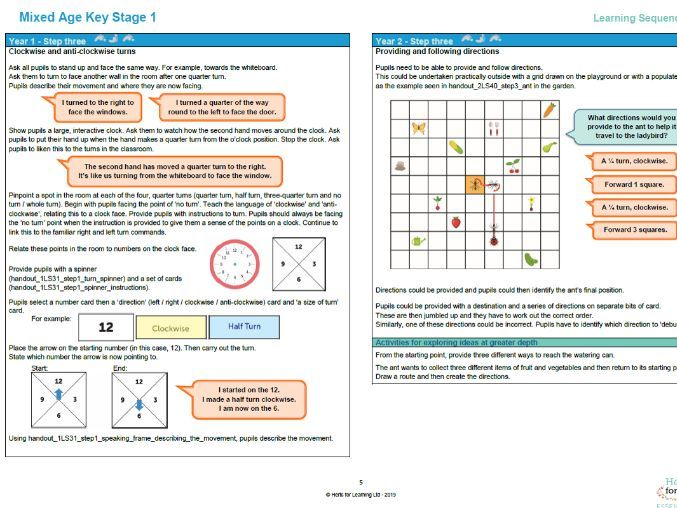 Mixed age planning for Year 1 and 2 maths. Positional language and sequencing (LS1)