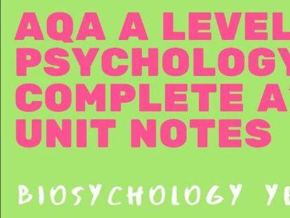AQA A Level Psychology - Biopsychology bundle