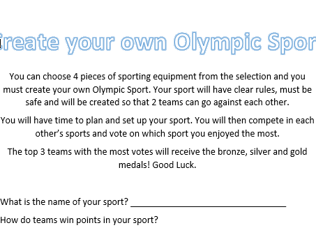 KS3 - Create your Own Olympic Sport PE Lesson