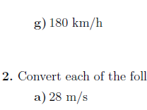 Speed Changing units worksheet (with solutions)