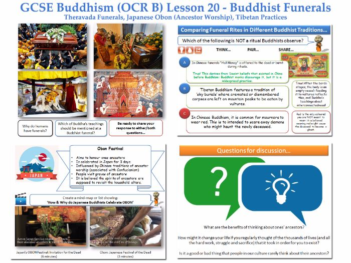 GCSE - Buddhism -Lesson 20  [Funerals, Obon, Rituals/Rites, Death, Customs, Tibetan](J625/04)