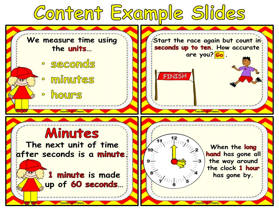 Units of Time - Seconds, Minutes and Hours - PowerPoint Presentation and worksheet