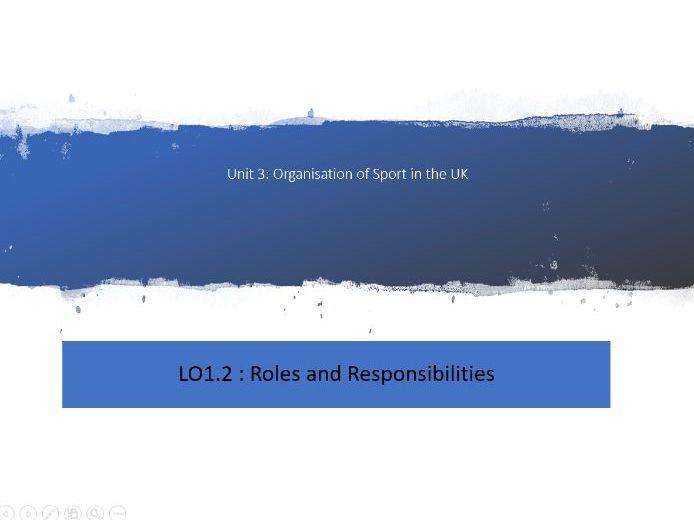 Unit 3 Sports Development LO1.2 Roles and Responsibilities