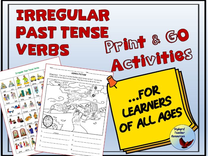 English Irregular Past Tense Verbs No Prep Activities ESL