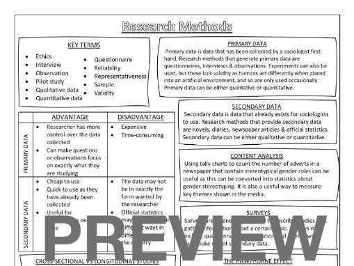 Sociology GCSE Knowledge Organiser - Research Methods