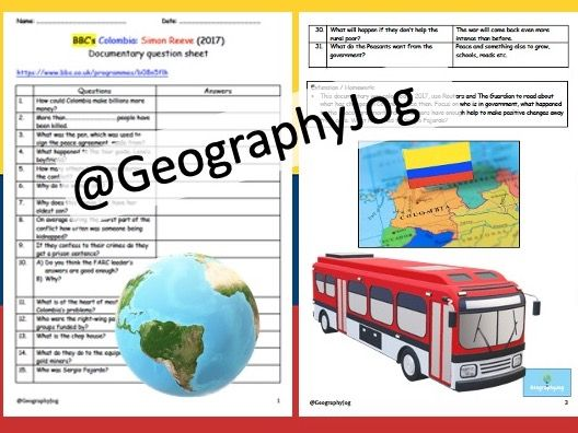 Geography_Colombia Simon Reeve BBC 2017 Documentary Worksheet