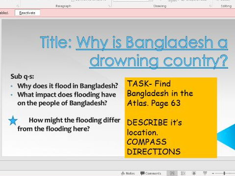Bangladesh Flooding- DRAMA activity- 'Why is Bangladesh a drowning country?'