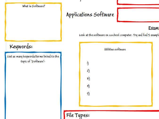 GCSE Computing OCR Software Revision Poster/Worksheet