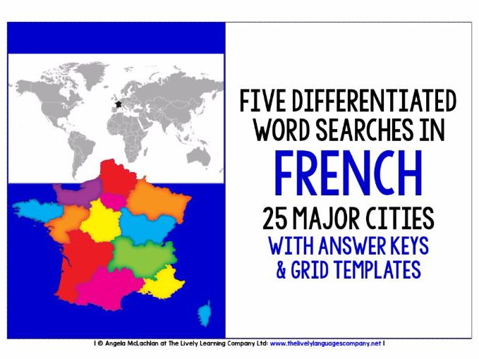 BACK TO SCHOOL FRENCH CITIES - FIVE DIFFERENTIATED WORD SEARCHES WITH ANSWER KEY AND TEMPLATE