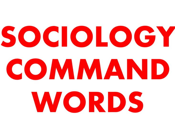 Sociology command words for A3 poster NEW SPEC