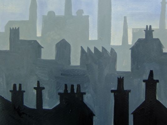 """""""Skylines"""" A KS3 painting project exploring Aerial Perspective"""