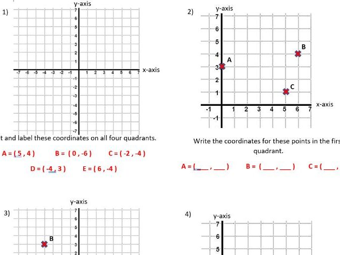 Plotting and writing coordinates on four quadrants year 6 (2 lessons)