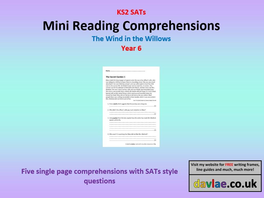 Mini Reading Comprehensions - Wind in the Willows - with Questions Similar to 2017 KS2 SATs