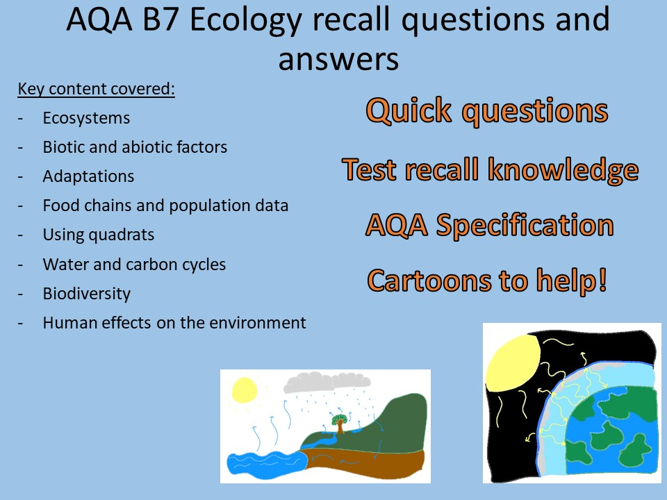 AQA B7 Biology - Ecology recall Qs