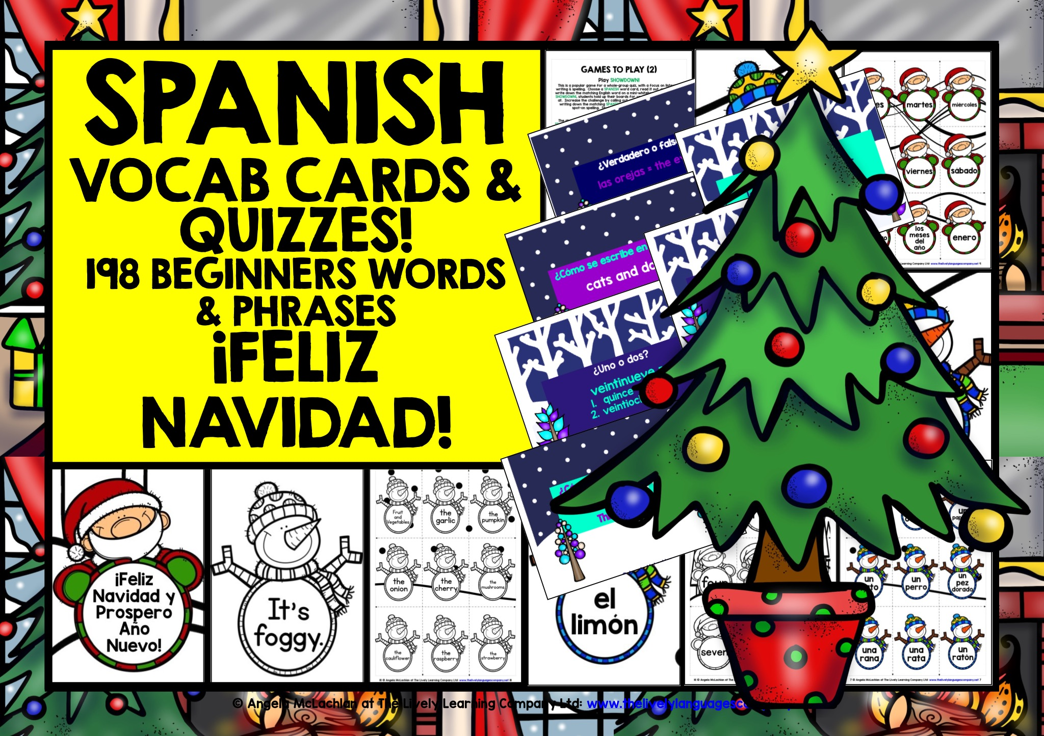 Christmas Eve In Spanish.Christmas Spanish Vocabulary Cards Quizzes