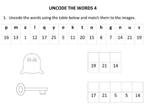 Spelling Game Uncode the words part 4 for Year 1 and Year 2 Students