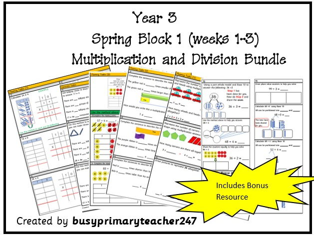 Year 3 - Spring block 1 - Multiplication and Division week 1-3 bundle includes bonus resource