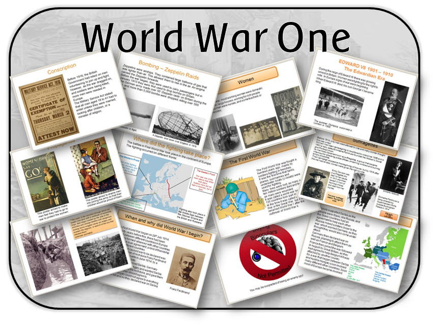 World War One powerpoint lessons, display and activities