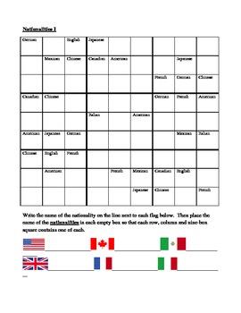 Nationalities in English Sudoku