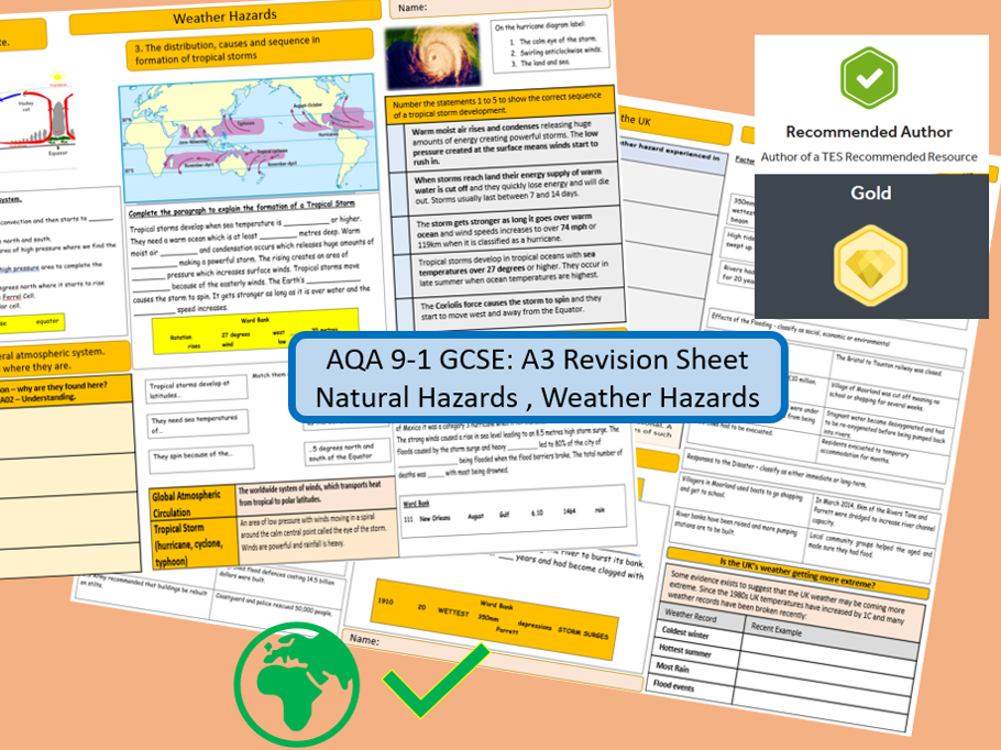 AQA 9-1 A3 Revision Sheets Bundle: Natural Hazards.
