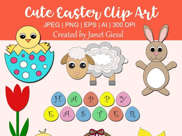 Cute Easter Clip Art - Set of 8