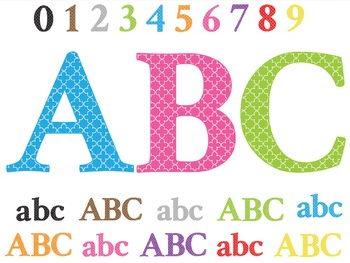Clip Art Quatrefoil Alphabet Letters, Numbers and Symbols