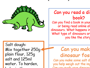 EYFS Dinosaur home learning topic project early years school closure