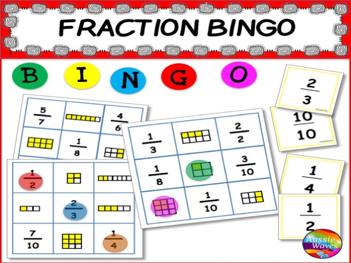 TEACHING FRACTIONS Printable Maths Centre Game FRACTION BINGO Activity
