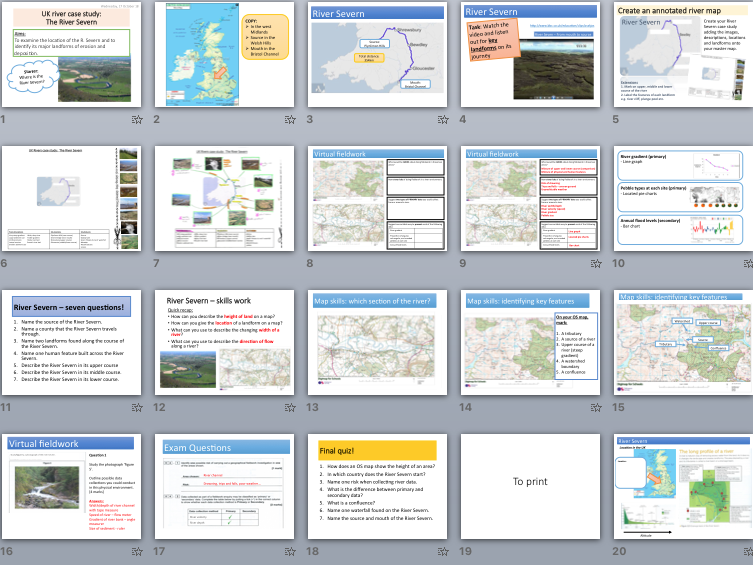 River Severn Case Study - features, processes and virtual fieldwork (KS4 Physical Landscapes in UK)