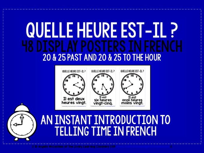 FRENCH TELLING TIME - 48 DISPLAY POSTERS / FLASHCARDS (3)