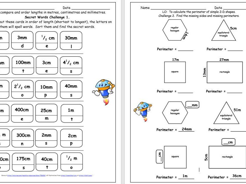 Y3 Measures Length & Perimeter Differentiated Mastery Challenges Free Taster